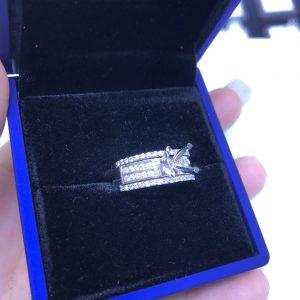 Vỏ nhẫn nữ Full kim cương thiên nhiên vàng 750, hột chủ nhận từ 6.0-7.0 li msp-7n800206