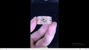 nhẫn Catier full diamonds vàng hồng ngoại 750